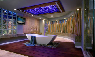 Hardwood flooring bathroom